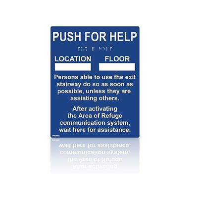 Instructional Blue Braille and Raised Letter Sign