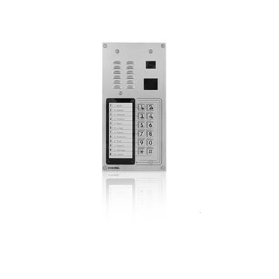 12 Button Apartment Entry Phone with Built-In Door Strike Relay Card Reader and Camera