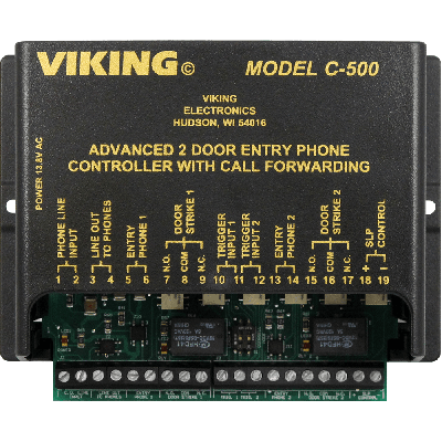 Viking C-500 Two Door Entry Phone Controller with Call Forwarding and Door Strike Controls