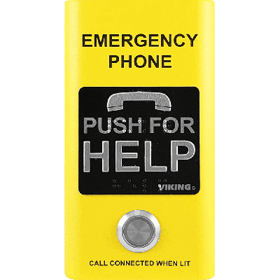 Viking E-1600-YLA ADA Compliant Yellow Emergency Phone with Built-In Dialer and Voice Announcer