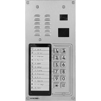 Viking K-1275 12 Button Apartment Entry Phone with Built-In Door Strike Relay Card Reader and Camera