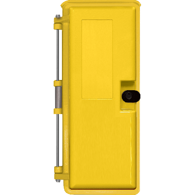 "Viking Yellow 9x20 Heavy-Duty Outdoor Enclosure with optional ""Telephone"" label"