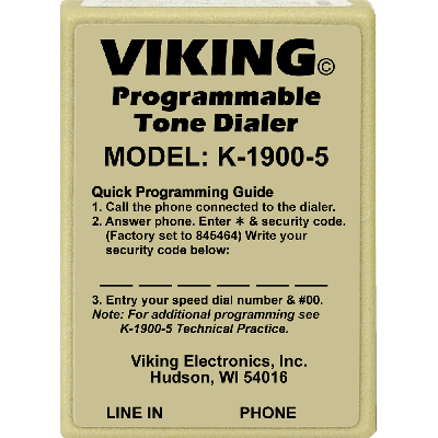 Viking K-1900-5 Hot Line Dialer - Tone Programmable